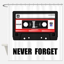 Never Forget Cassette Black.png Shower Curtain
