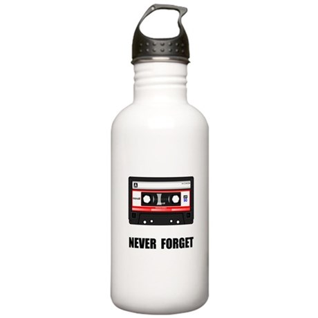 Never Forget Cassette Black.png Stainless Water Bo