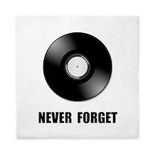 Never Forget Vinyl Black Queen Duvet