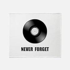 Never Forget Vinyl Black Throw Blanket