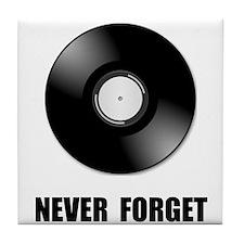 Never Forget Vinyl Black Tile Coaster