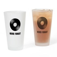 Never Forget Vinyl Black Drinking Glass