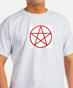 Red Pentacle Ash Grey T-Shirt