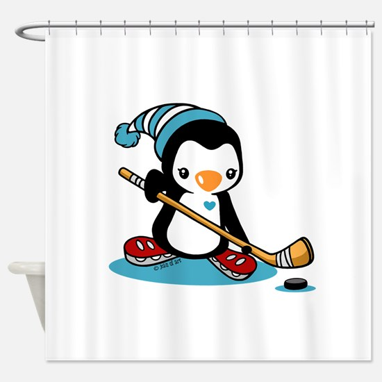 Ice Hockey Penguin Shower Curtain