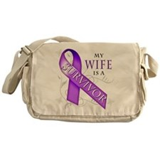 My Wife is a Survivor (purple).png Messenger Bag