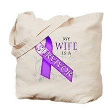 My Wife is a Survivor (purple).png Tote Bag