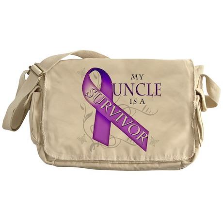 My Uncle is a Survivor (purple).png Messenger Bag