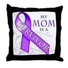 My Mom is a Survivor (purple).png Throw Pillow