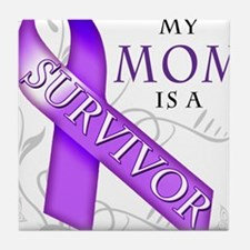 My Mom is a Survivor (purple).png Tile Coaster