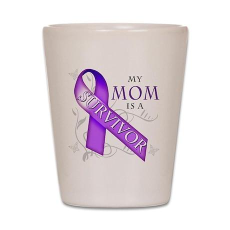 My Mom is a Survivor (purple).png Shot Glass