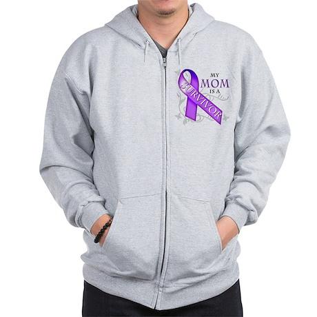 My Mom is a Survivor (purple).png Zip Hoodie