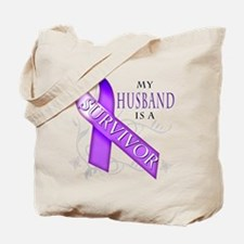My Husband is a Survivor (purple).png Tote Bag