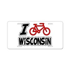 I Love Cycling Wisconsin Aluminum License Plate