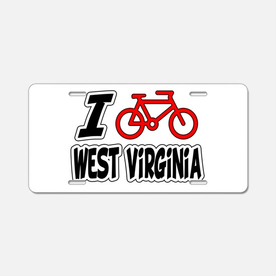 I Love Cycling West Virginia Aluminum License Plat