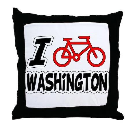 I Love Cycling Washington Throw Pillow