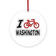 I Love Cycling Washington Ornament (Round)