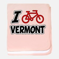 I Love Cycling Vermont baby blanket