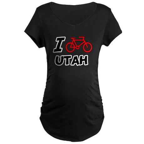 I Love Cycling Utah Maternity Dark T-Shirt