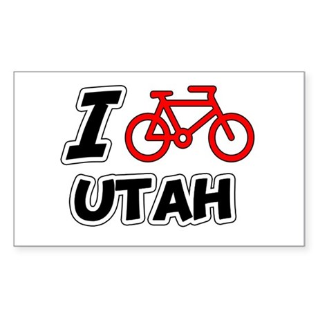 I Love Cycling Utah Sticker (Rectangle)