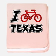 I Love Cycling Texas baby blanket