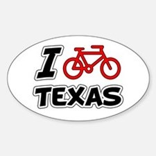 I Love Cycling Texas Sticker (Oval)