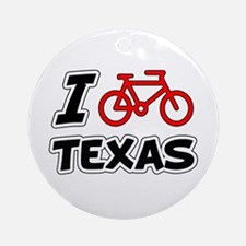 I Love Cycling Texas Ornament (Round)
