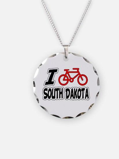 I Love Cycling South Dakota Necklace