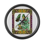 Buff Bellied Hummingbirds Large Wall Clock