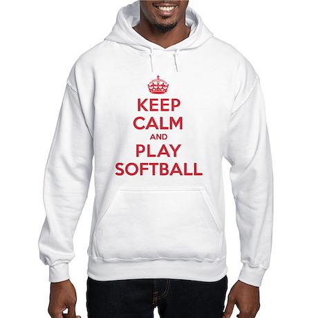 Keep Calm Play Softball Hooded Sweatshirt