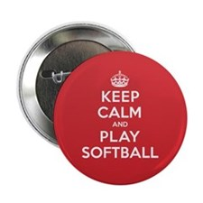 "Keep Calm Play Softball 2.25"" Button"