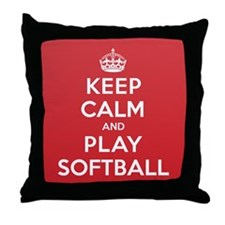 Keep Calm Play Softball Throw Pillow