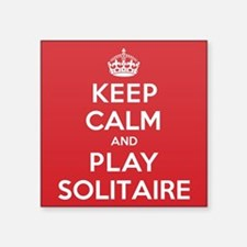 "Keep Calm Play Solitaire Square Sticker 3"" x 3"""