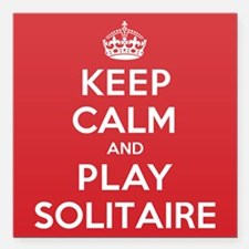 """Keep Calm Play Solitaire Square Car Magnet 3"""" x 3"""""""