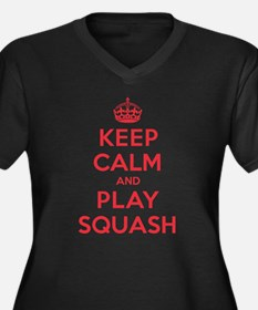 Keep Calm Play Squash Women's Plus Size V-Neck Dar