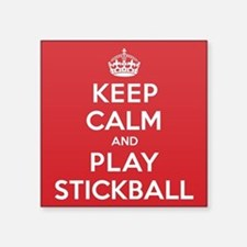 "Keep Calm Play Stickball Square Sticker 3"" x 3"""