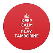 Keep Calm Play Tamborine Round Car Magnet