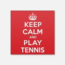 "Keep Calm Play Tennis Square Sticker 3"" x 3"""