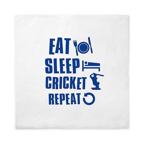 Eat Sleep Cricket Queen Duvet By Sportzandgamez