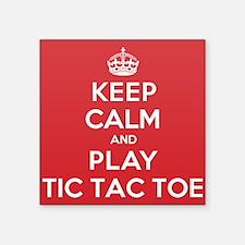 "Keep Calm Play Tic Tac Toe Square Sticker 3"" x 3"""