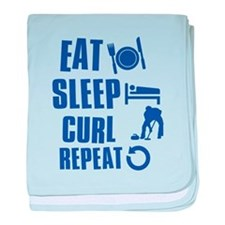 Eat Sleep Curl baby blanket