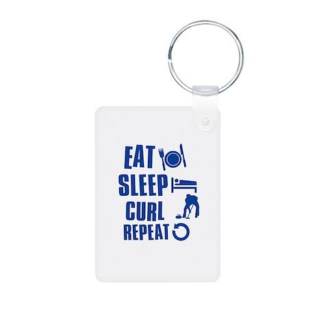 Eat Sleep Curl Aluminum Photo Keychain