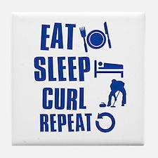 Eat Sleep Curl Tile Coaster