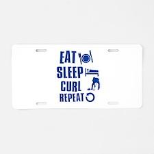 Eat Sleep Curl Aluminum License Plate