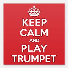 "Keep Calm Play Trumpet Square Car Magnet 3"" x 3"""