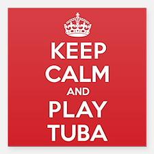 """Keep Calm Play Tuba Square Car Magnet 3"""" x 3"""""""
