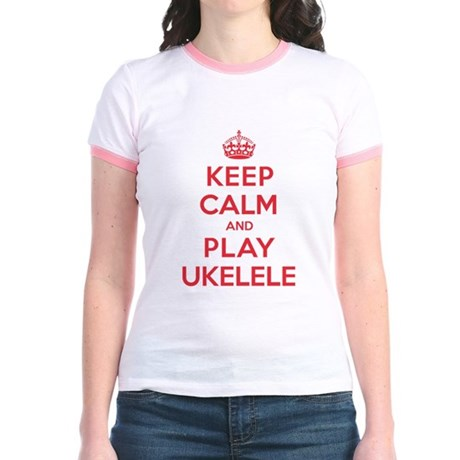 Keep Calm Play Ukelele Jr. Ringer T-Shirt