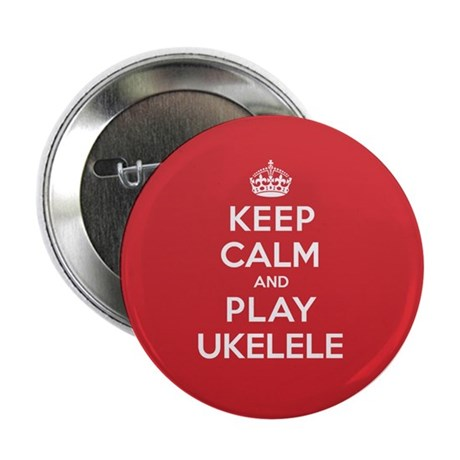 "Keep Calm Play Ukelele 2.25"" Button (10 pack)"