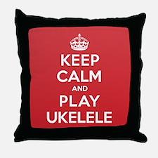 Keep Calm Play Ukelele Throw Pillow