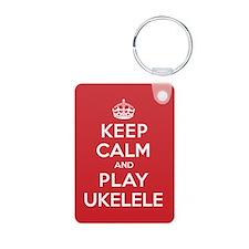 Keep Calm Play Ukelele Keychains