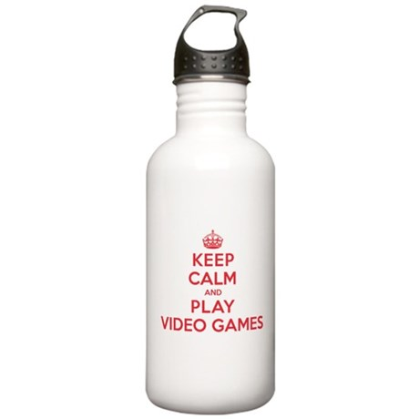Keep Calm Play Video Games Stainless Water Bottle